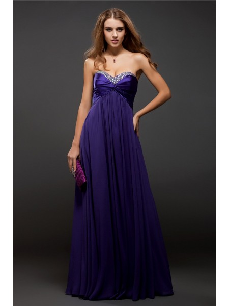 Sheath/Column Sweetheart Sleeveless Beading Floor-Length Chiffon Dresses