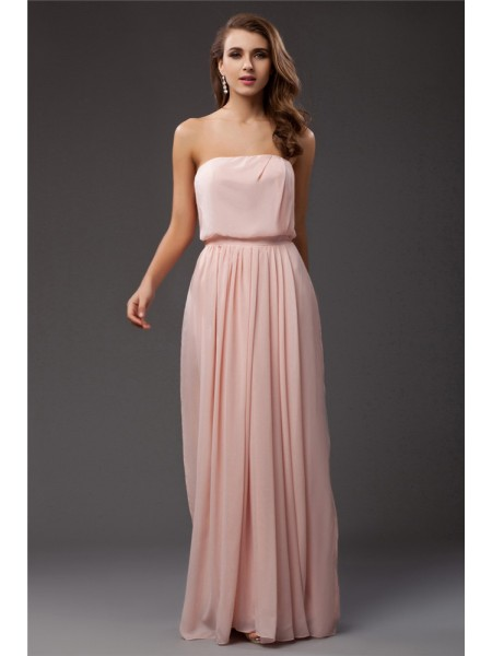 Sheath/Column Strapless Sleeveless Ruffles Floor-Length Chiffon Dresses