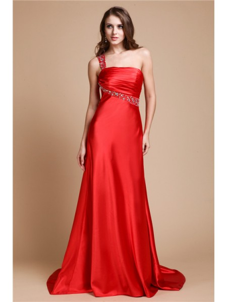 A-Line/Princess One-Shoulder Sleeveless Beading Sweep/Brush Train Elastic Woven Satin Dresses