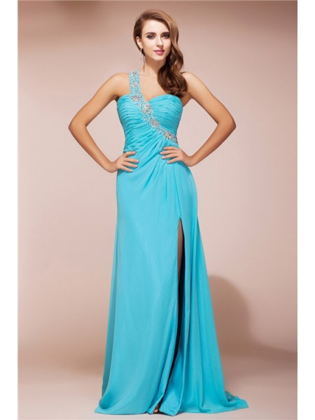 Sheath/Column One-Shoulder Sleeveless Beading Sweep/Brush Train Chiffon Dresses