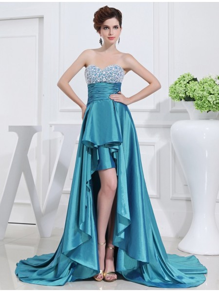 A-Line/Princess Sweetheart Sleeveless Beading Asymmetrical Taffeta Dresses