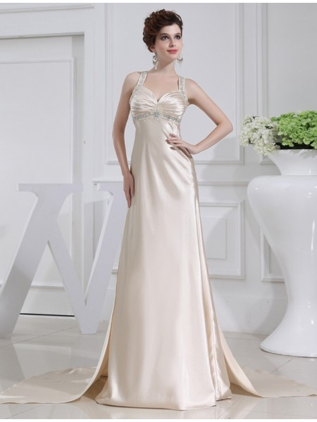 A-Line/Princess Straps Sleeveless Beading Sweep/Brush Train Elastic Woven Satin Dresses