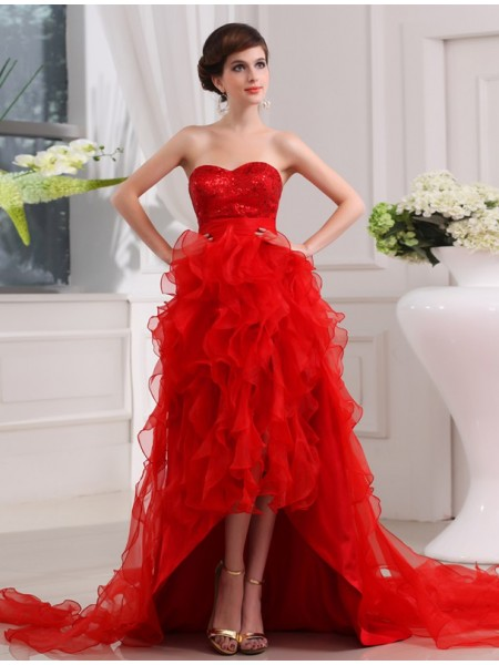 A-Line/Princess Sweetheart Sleeveless Sequin Asymmetrical Organza Dresses