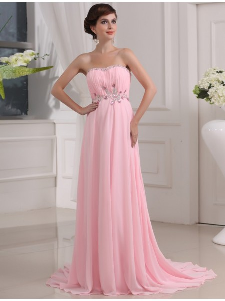 A-Line/Princess Strapless Sleeveless Beading,Applique Sweep/Brush Train Chiffon Dresses