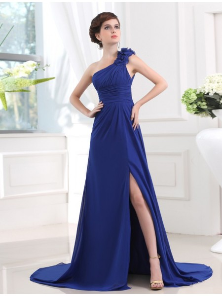A-Line/Princess One-Shoulder Sleeveless Pleats,Hand-Made Flower Sweep/Brush Train Chiffon Dresses