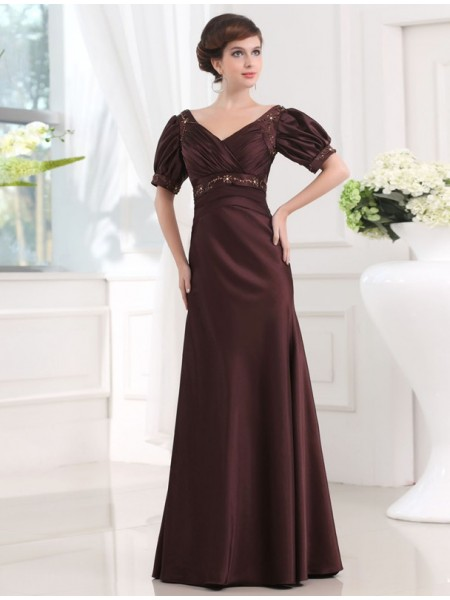 Sheath/Column V-neck 1/2 Sleeves Beading Floor-Length Satin Dresses