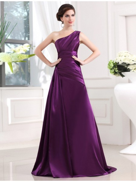 A-Line/Princess One-Shoulder Sleeveless Pleats Sweep/Brush Train Elastic Woven Satin Dresses