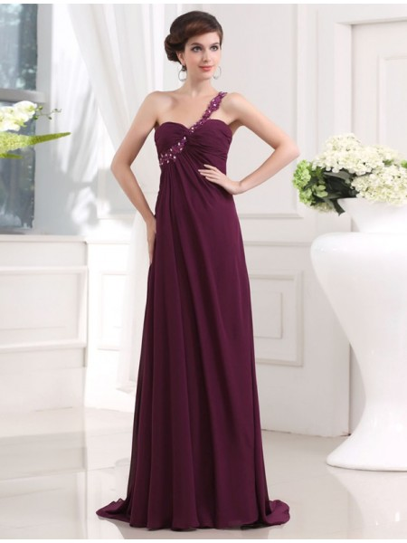 A-Line/Princess One-Shoulder Sleeveless Beading,Applique Sweep/Brush Train Chiffon Dresses