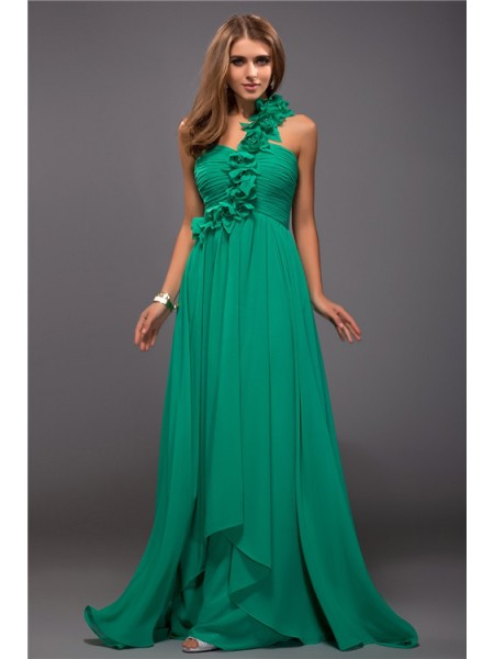 Sheath/Column One-Shoulder Sleeveless Ruffles,Hand-Made Flower Floor-Length Chiffon Dresses