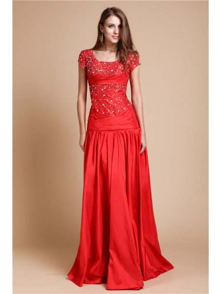 A-Line/Princess Scoop Short Sleeves Beading Floor-Length Taffeta Dresses