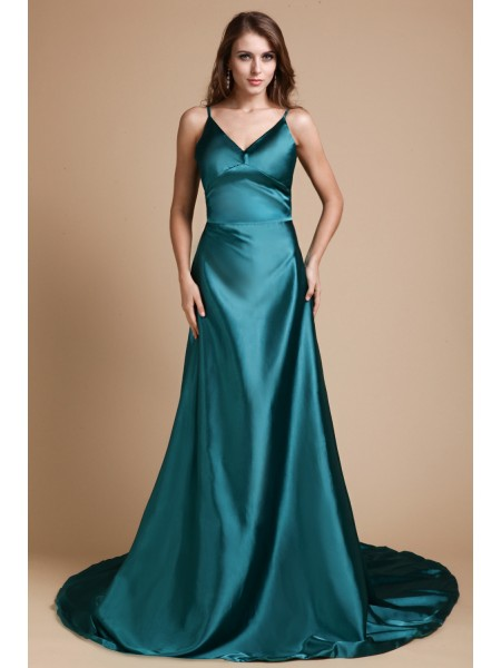 A-Line/Princess Spaghetti Straps Sleeveless Ruffles Sweep/Brush Train Elastic Woven Satin Dresses