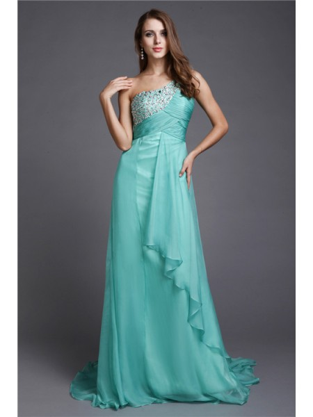 A-Line/Princess One-Shoulder Sleeveless Beading Sweep/Brush Train Chiffon Dresses