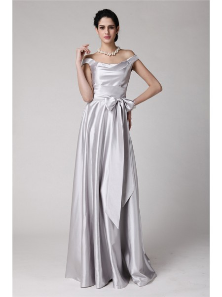 Sheath/Column Off-the-Shoulder Sleeveless Sash/Ribbon/Belt Floor-Length Elastic Woven Satin Dresses