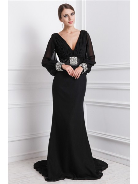 Trumpet/Mermaid V-neck Long Sleeves Beading Sweep/Brush Train Chiffon Dresses