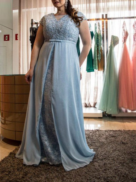 A-Line/Princess Scoop Short Sleeves Floor-Length Chiffon Dresses