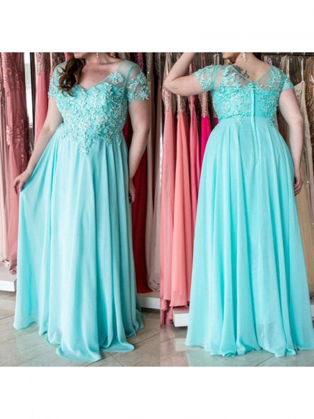 A-Line/Princess Sweetheart Short Sleeves Applique Floor-Length Chiffon Dresses