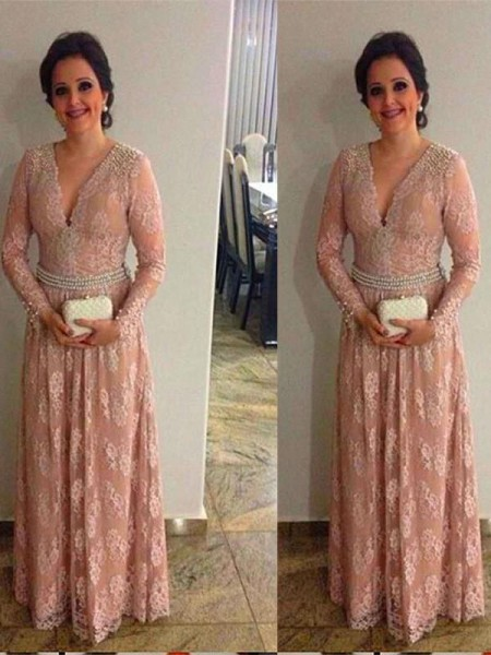 A-Line/Princess V-neck Long Sleeves Beading Floor-Length Lace Mother of the Bride Dresses