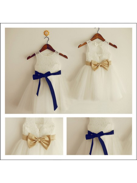 A-Line/Princess Sleeveless Scoop Lace Tea-Length Bowknot Flower Girl Dresses