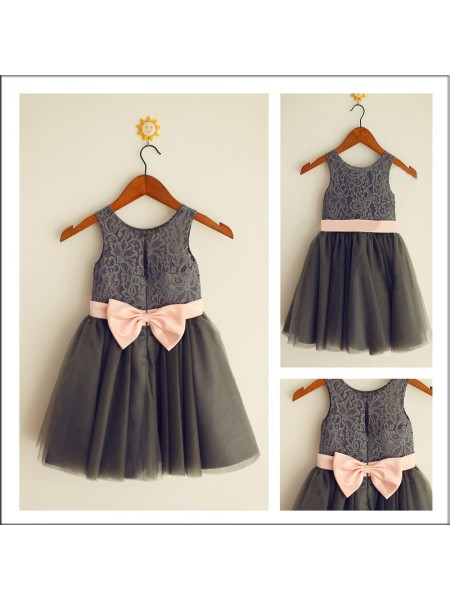 A-Line/Princess Sleeveless Scoop Tulle Tea-Length Bowknot Flower Girl Dresses