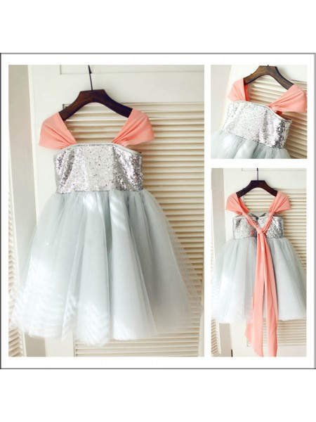 A-Line/Princess Sleeveless Straps Tulle Tea-Length Sequin Flower Girl Dresses