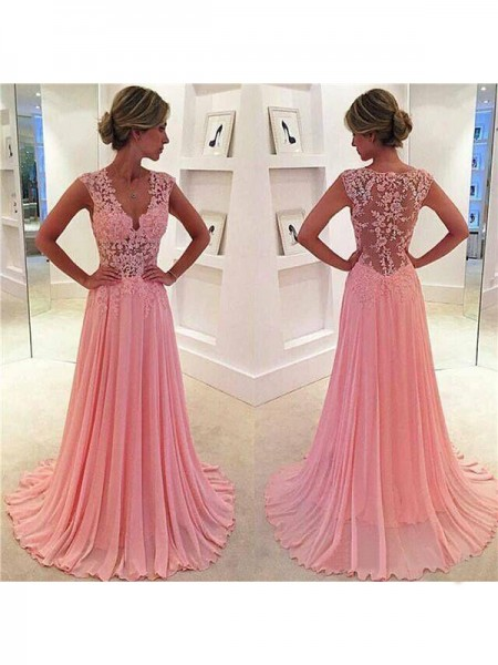 A-Line/Princess Sleeveless V-neck Chiffon Sweep/Brush Train Dresses