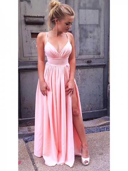 A-Line/Princess Straps Sleeveless Chiffon Ruched Floor-Length Dresses