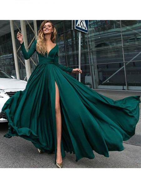 A-Line/Princess V-Neck Long Sleeves Satin Chiffon Ruffles Floor-Length Dresses