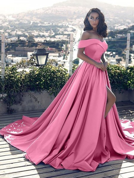 A-Line/Princess Off-the-Shoulder Sleeveless Satin Ruffles Court Train Dresses