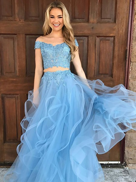 A-Line/Princess Off-the-Shoulder Sleeveless Tulle Applique Floor-Length Dresses