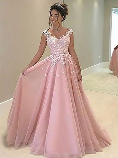 A-Line/Princess Sweetheart Sleeveless Tulle Applique Floor-Length Dresses
