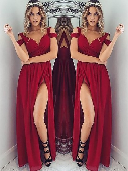 A-Line/Princess Off-the-Shoulder Sleeveless Chiffon Ruched Floor-Length Dresses