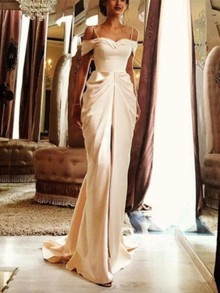 Sheath/Column Short Sleeves Sweep/Brush Train Off-the-Shoulder Ruffles Silk Like Satin Wedding Dresses