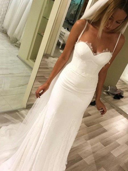Sheath/Column Sleeveless Sweep/Brush Train Sweetheart Satin Wedding Dresses
