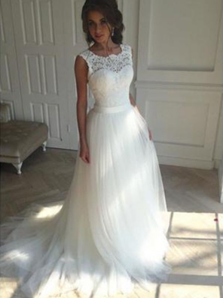 A-Line/Princess Sleeveless Court Train Square Beading Tulle Wedding Dresses