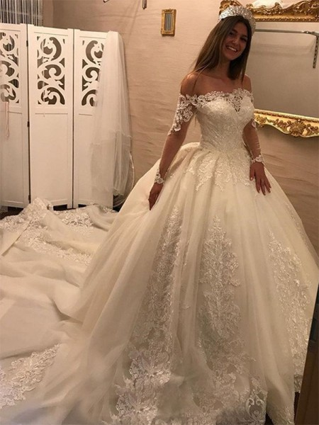 Ball Gown Long Sleeves Cathedral Train Off-the-Shoulder Applique Tulle Wedding Dresses