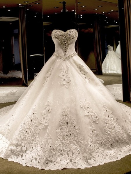 Ball Gown Sleeveless Cathedral Train Sweetheart Sequin Tulle Wedding Dresses