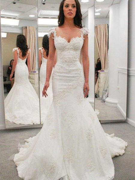 Trumpet/Mermaid Short Sleeves Chapel Train Sweetheart Applique Lace Wedding Dresses