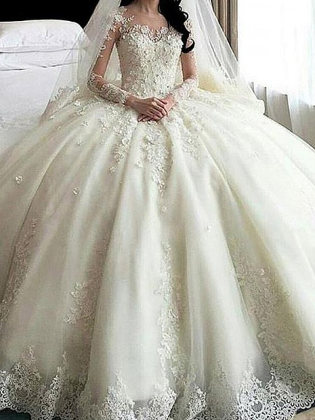 Ball Gown Long Sleeves Cathedral Train Scoop Applique Tulle Wedding Dresses