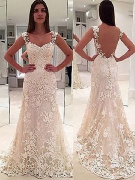 Sheath/Column Sleeveless Court Train Sweetheart Applique Lace Wedding Dresses