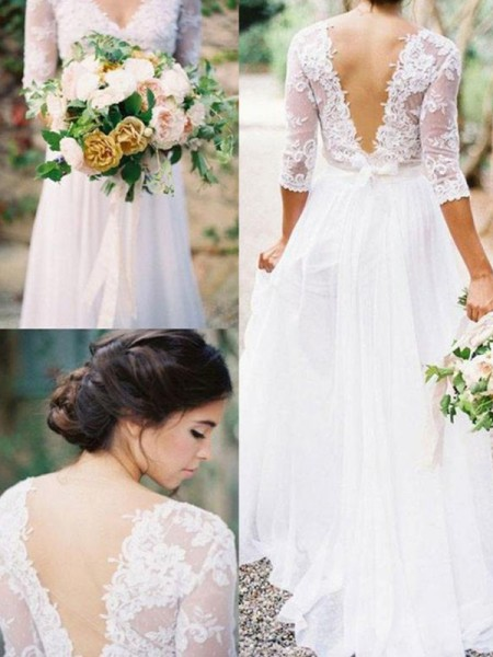 A-Line/Princess 1/2 Sleeves Floor-Length V-neck Applique Chiffon Wedding Dresses