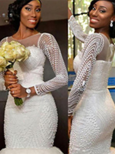 Trumpet/Mermaid Long Sleeves Sweep/Brush Train Scoop Beading Tulle Wedding Dresses