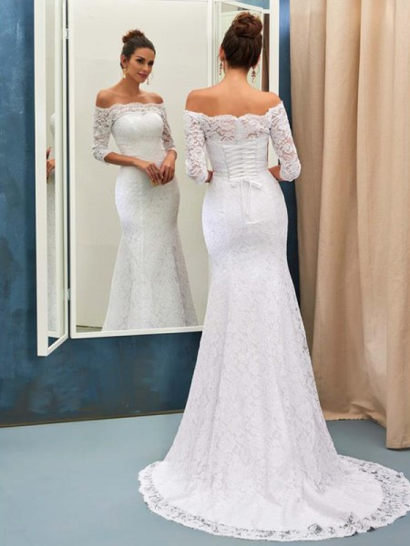 Trumpet/Mermaid 1/2 Sleeves Sweep/Brush Train Off-the-Shoulder Lace Wedding Dresses