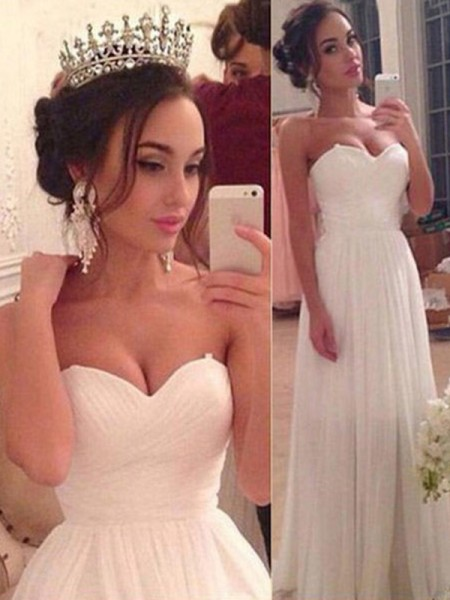 A-Line/Princess Sleeveless Floor-Length Sweetheart Ruffles Chiffon Wedding Dresses
