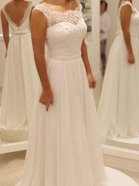 A-Line/Princess Sleeveless Sweep/Brush Train Scoop Chiffon Wedding Dresses