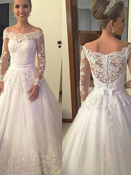 Ball Gown Long Sleeves Court Train Off-the-Shoulder Applique Tulle Wedding Dresses
