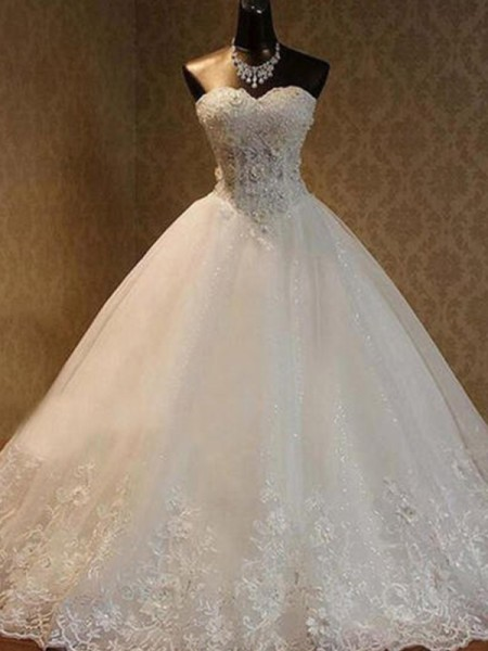 Ball Gown Sleeveless Floor-Length Sweetheart Beading Tulle Wedding Dresses