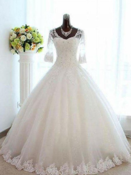 Ball Gown 3/4 Sleeves Floor-Length Bateau Beading Tulle Wedding Dresses