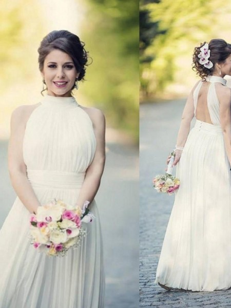 A-Line/Princess Sleeveless Floor-Length Halter Ruffles Tulle Wedding Dresses