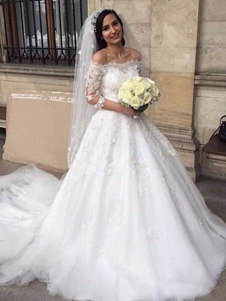 Ball Gown 3/4 Sleeves Chapel Train Off-the-Shoulder Applique Tulle Wedding Dresses