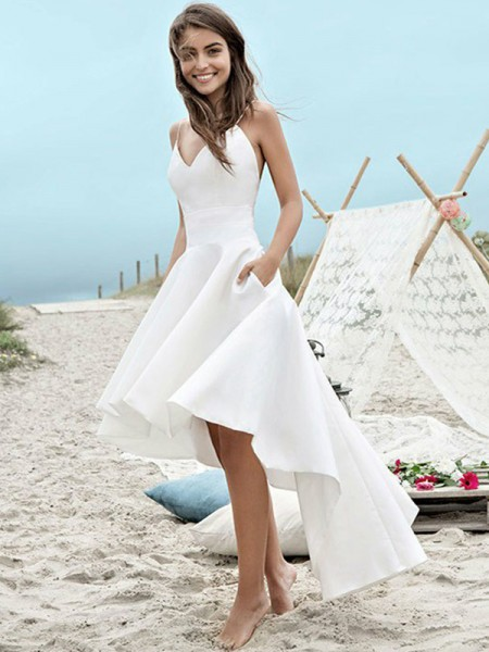 A-Line/Princess Sleeveless Asymmetrical Spaghetti Straps Ruched Satin Wedding Dresses